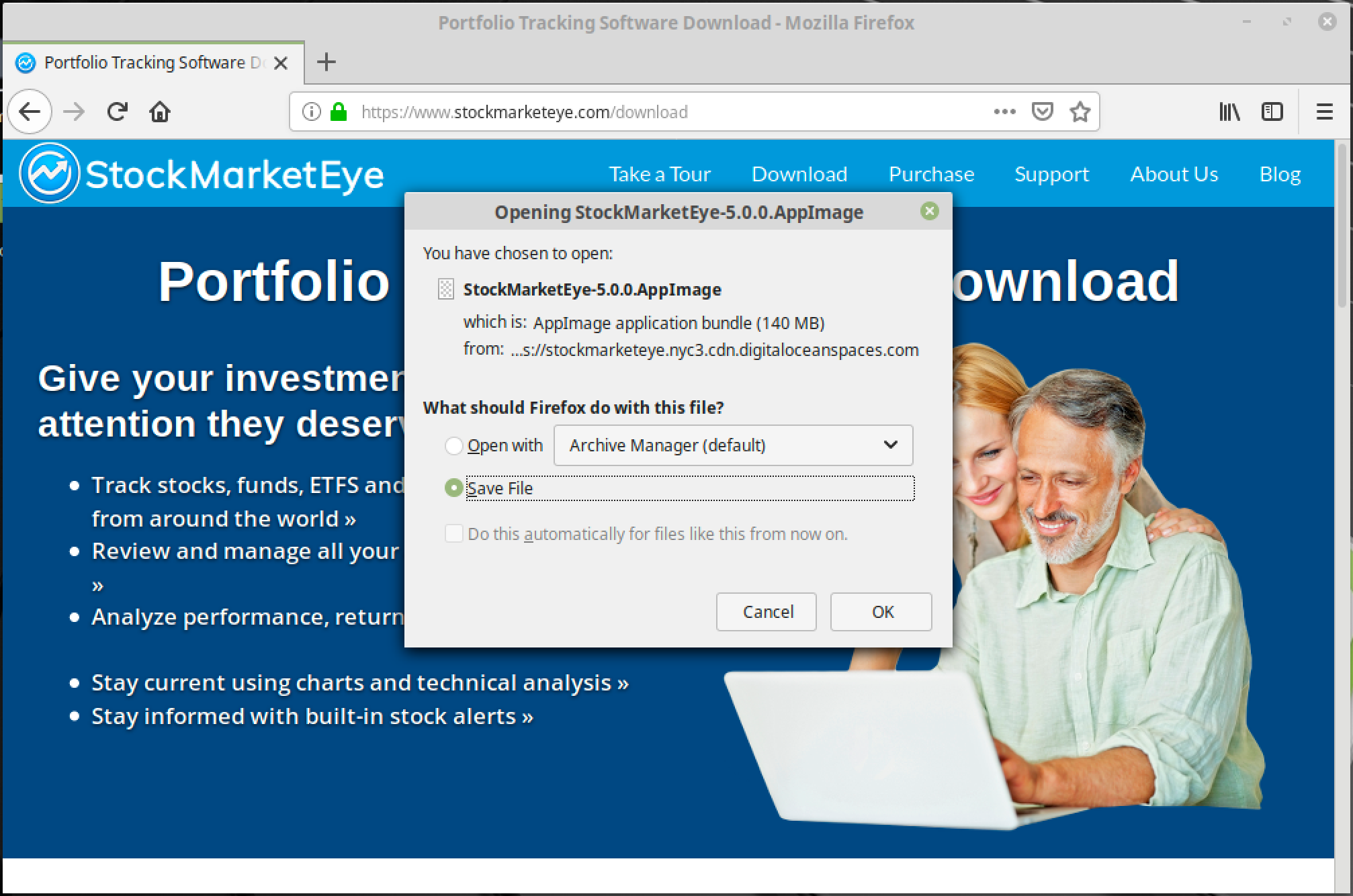 Downloading StockMarketEye on Linux