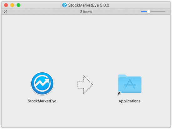 Drag the StockMarketEye app icon to the Applications folder