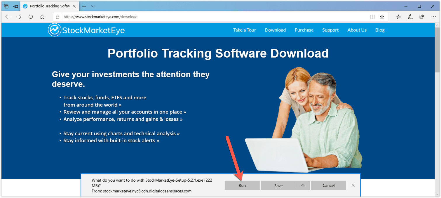 Downloading StockMarketEye on Windows