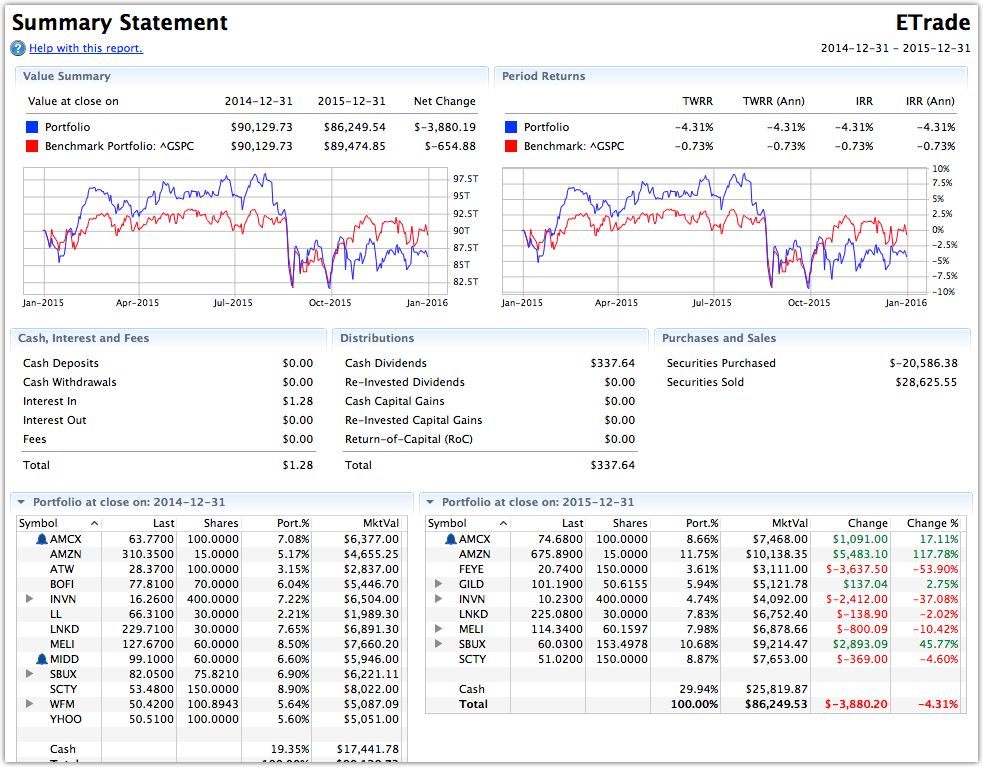 The Summary report showing your portfolio's performance over the selected period.