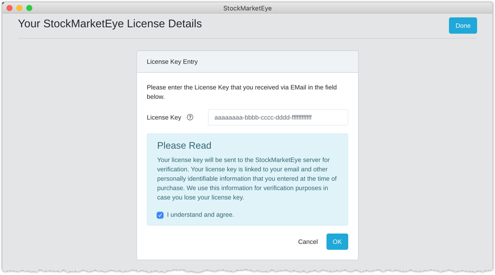 Upgrade license entry
