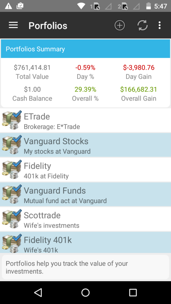 StockMarketEye for Android - Portfolios