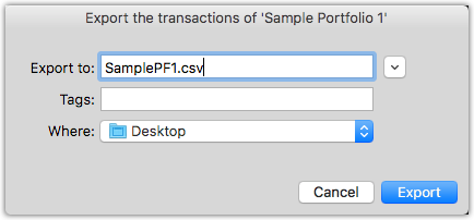 Choose an appropriate name for the Investoscope CSV file.