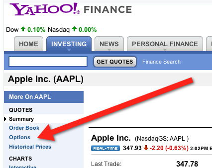 Where To Find The Options Link On A Yahoo Finance Stock Page