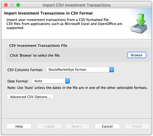 Importing Investment Data from a CSV File
